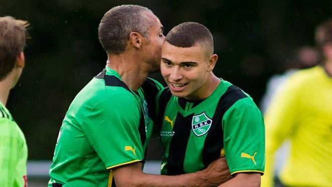 """Manager of Swedish club, Henrik Larsson and player-son Jordan in happier times before their club Helsingborg was relegated from the Swedish top flight for the first time in 23 years. Fans attacked Jordan on the pitch with Larsson senior saying that if they came to their home he has """"plenty of dogs"""".  22.11.16"""