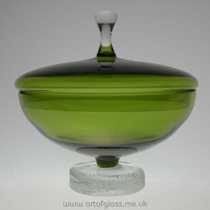 Swedish green glass powder bowl/trinket box/candy jar