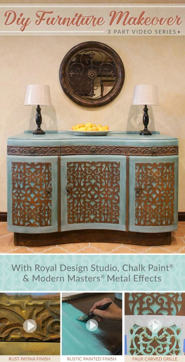 DIY Furniture Makeover 3 Part VIDEO TUTORIAL Series: Rust Finish, Stencil Faux Carved Wood Grille and Distressed Chalk Paint Finish
