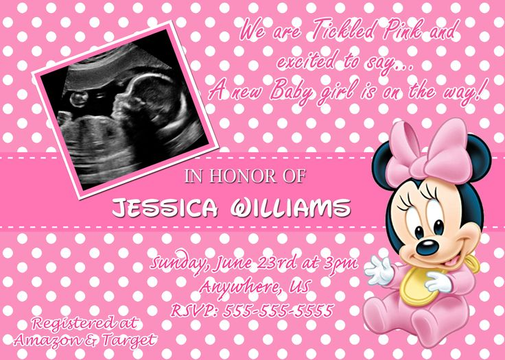 Baby Shower Invitations: Pink Background Polkadot Style Photo Cartoon Minnie  Mouse Baby Shower Invitations Design