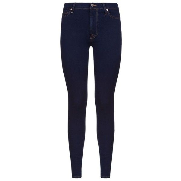 7 For All Mankind Slim Illusion High Waist Super Skinny Jeans ($275) ❤ liked on Polyvore featuring jeans, skinny leg jeans, blue jeans, super high-waisted skinny jeans, indigo skinny jeans and stretch jeans