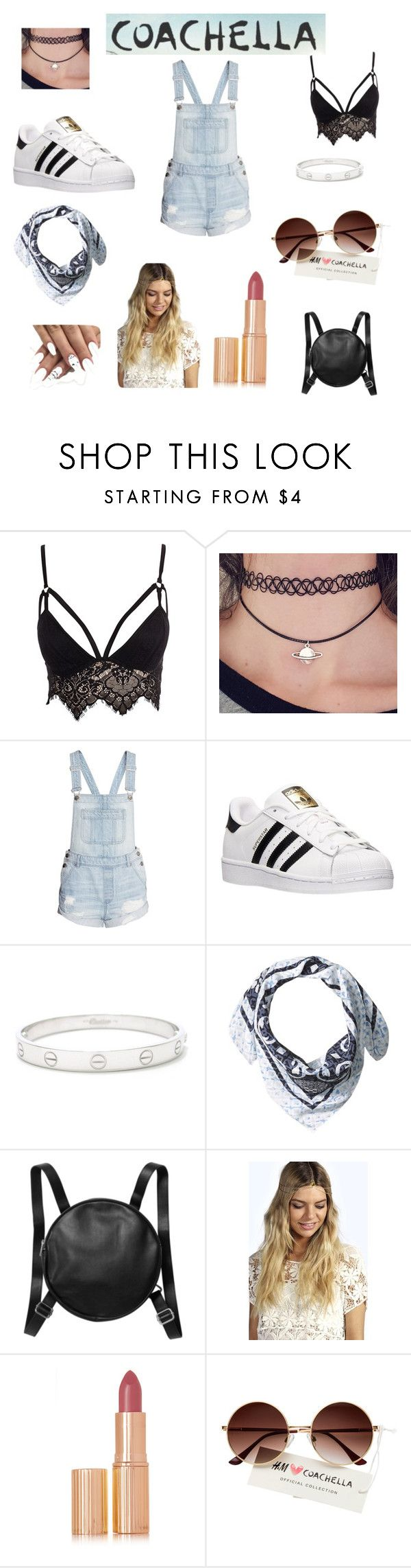 """""""Coachella weekend 1 day 2 """" by chloe-xci ❤ liked on Polyvore featuring Club L, adidas, Cartier, Vince Camuto, Monki, Boohoo and Charlotte Tilbury"""