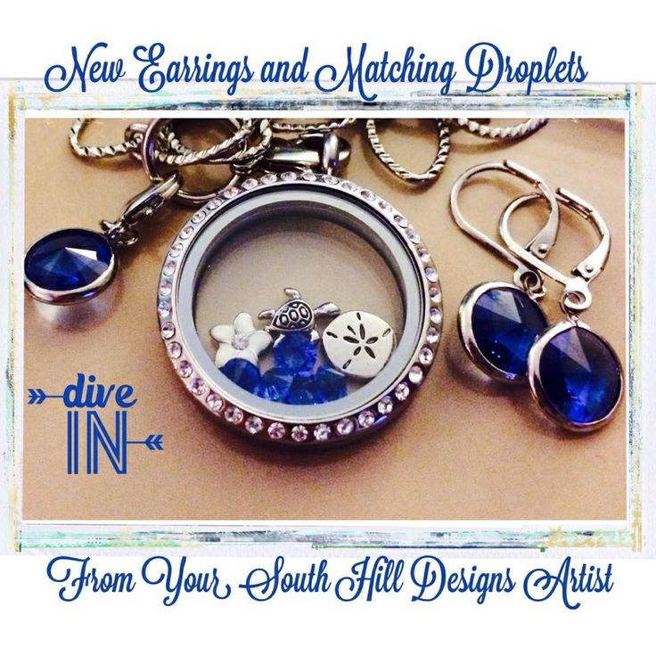 Swarovski earrings and droplet from South Hill Designs Swarovski earrings to coordinate with your lockets! Yay! https://www.facebook.com/locketncharms