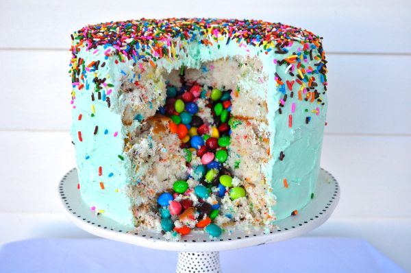 If you've got a birthday or other celebration coming up, this just might be the sweetest, happiest, most colorful cake you can make. Get the recipe here.