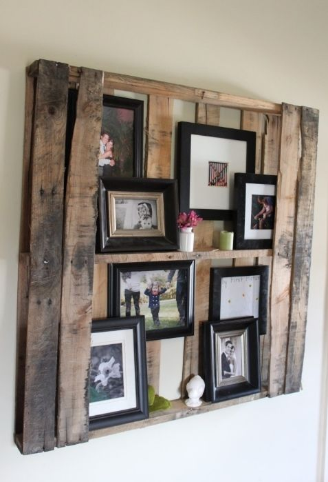 A repurposed shipping pallet.: Picture, Pallets Wall, Frames, Pallets Shelves, Wooden Pallets, Photos Display, Pallets Ideas, Wood Pallets, Old Pallets