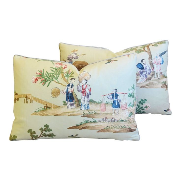 Gp & J Baker Chinoiserie Floating Pavilion Feather/Down Pillows 23″ X 17″ – Pair