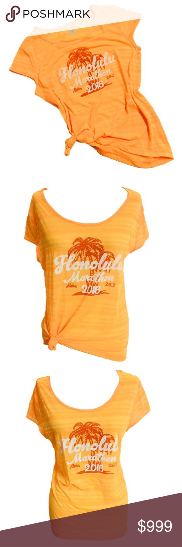 🎉SALE🎉 New Women's Sports Running T-Shirt Tee Honolulu Mara-thon Sports Running 2016 Cool Breeze Women's Tee T-shirt Top  CONDITION: New with tags COLOR: Neon Orange  PRODUCT DETAILS:   Layer over a tank top or sports bra for that go to workout look. Great for fitness, working out, Zumba, running, etc..  Lightweight - Great for running & exercise Sheer striped design 100% Polyester 2016 Honolulu Mara-thon Design  #honolulu, Waikiki, Aloha, tropical, Hawaii Tops Tees - Short Sleeve