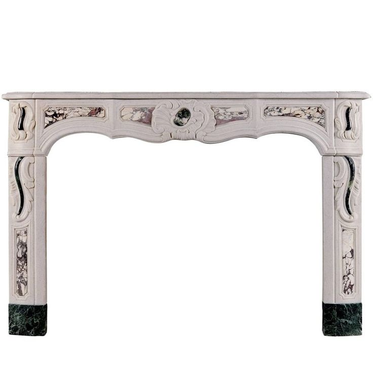 19th Century French Provençale White Marble Fireplace With Colored Inlay