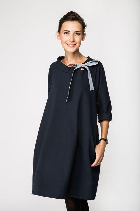 Abito classico French vestito Abito blu profondo di LeMuse