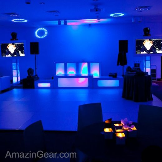 Light Up Stage and DJ Booth With Two Plasma Screens. AmazinGear.com likes this DJ Setup... #weddingdj #djsetup #mobiledj @AmazinGear
