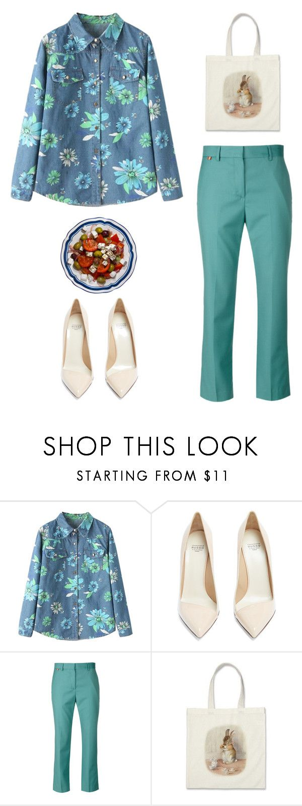 """""""Mint Pants & Denim Printshirt"""" by snorkfroeken ❤ liked on Polyvore featuring Francesco Russo, Paul Smith, Spring, floral, Pumps and DenimStyle"""