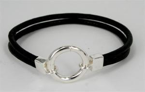 <b>Læderarmbånd med ringlås</B>
