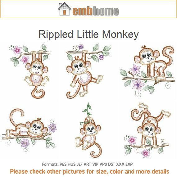 Rippled Little Monkey Machine Embroidery Designs Instant Download 4x4 5x5 6x6 Hoop 10 Designs ...