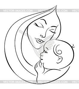 Мать и ребенок - черно-белый векторный клипарт