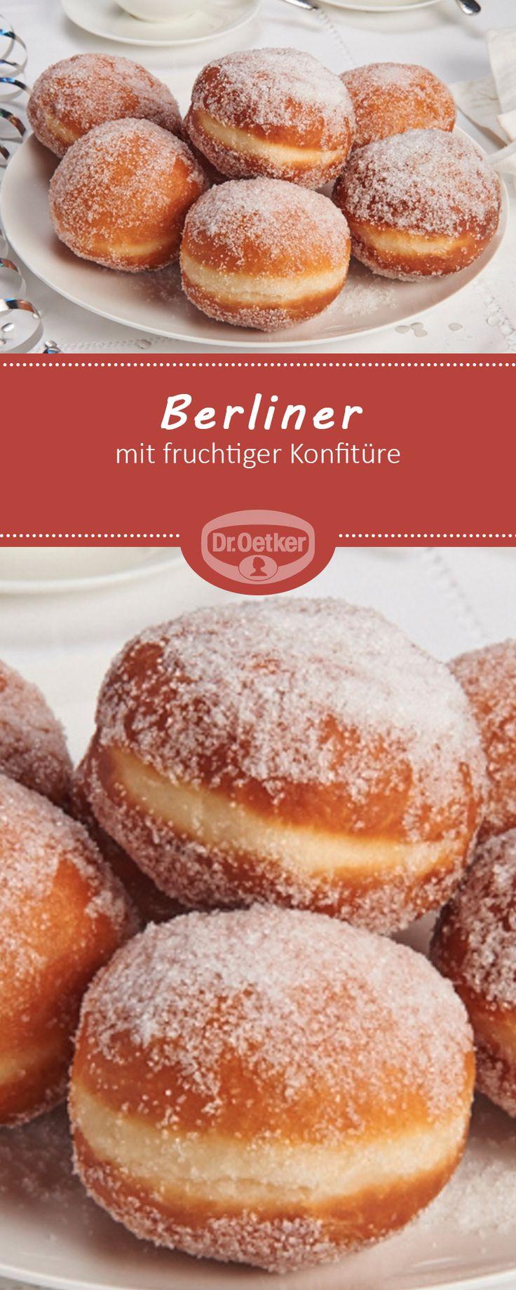 Berliner - Lockere Berliner gefüllt mit fruchtiger Konfitüre zu Silvester oder zum Karneval #rezept #lecker #party