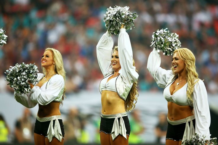 The Raiderettes perform during the NFL match between the Oakland Raiders and the Miami Dolphins at Wembley Stadium on September 28, 2014 in London, England.