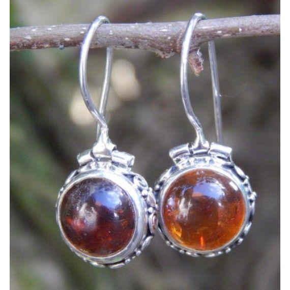 Anting hook perak batu Amber  Cocok digunakan sehari2.  Menggunakan batu amber asli natural 100% ukuran 10mm bulat.