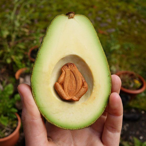 She creates amazing art out of avocado stones.