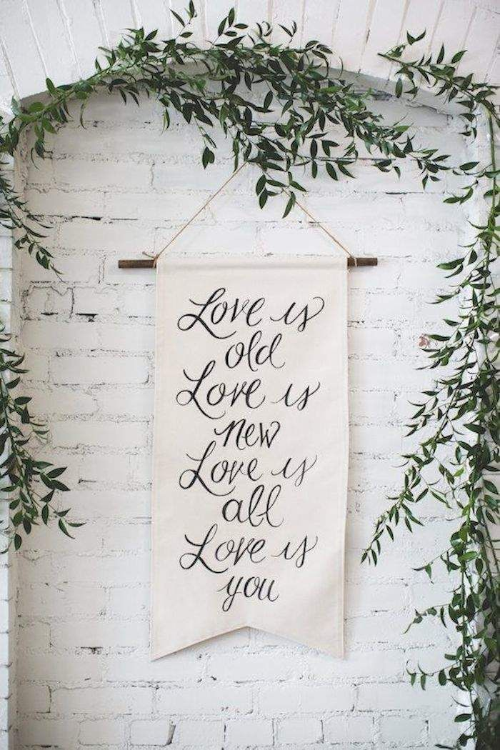 We love this simple calligraphy banner! Featured Decor: Found and Made Co. | Featured Photography: Your Wedding Project via 100 Layer Cake