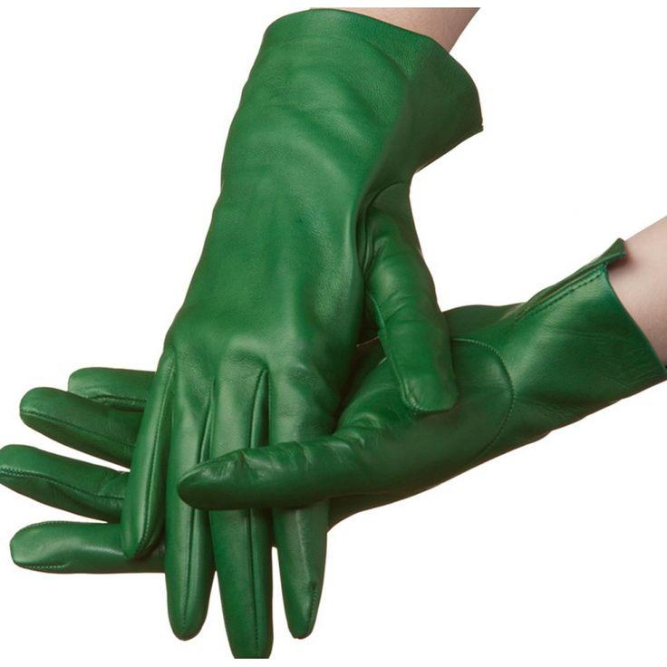 Flora – unlined lambskin gloves, green color