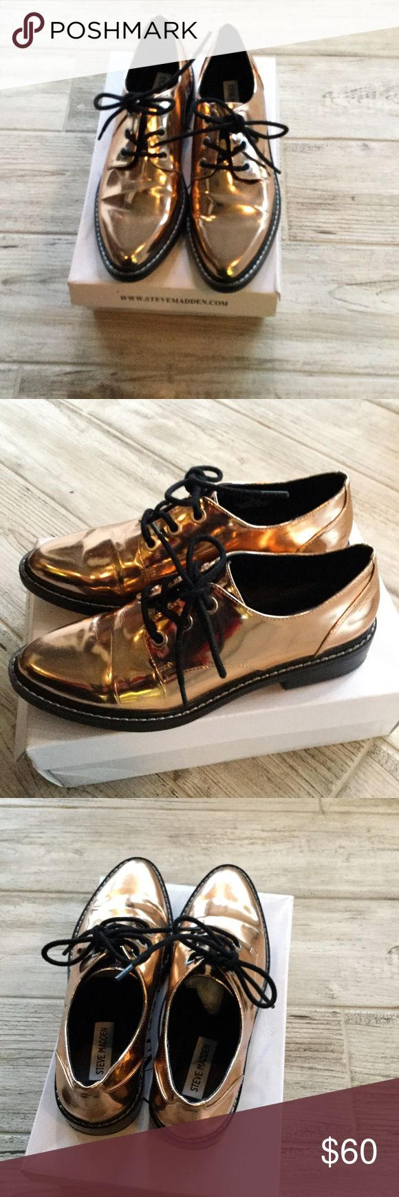 Super cool rose gold metallic oxfords Steve Madden rose gold metallic oxfords. The new trend featured on runways by major designers without the price tag. Worn once . Great condition... Size 8 and true to size. Steve Madden Shoes Flats & Loafers