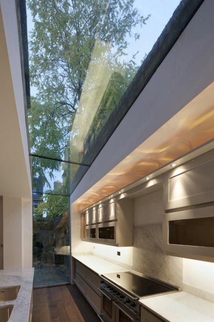 verriere interieure pas cher, cuisine avec plafond en verre