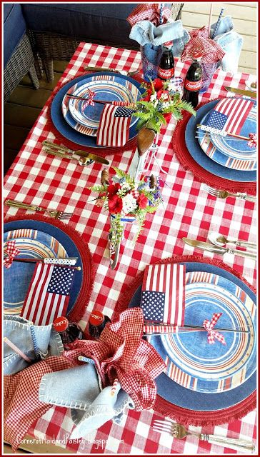 On 4th Of July Just This One Time I >> Red White And Blue Tablescape Hop Just In Time For 4th Of July