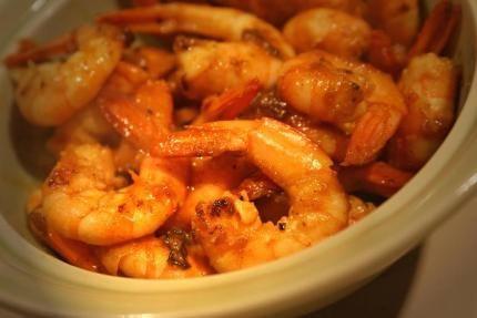 Crevettes+sautées+à+l'ail,+curry,+gingembre+et+Sauce+Soja