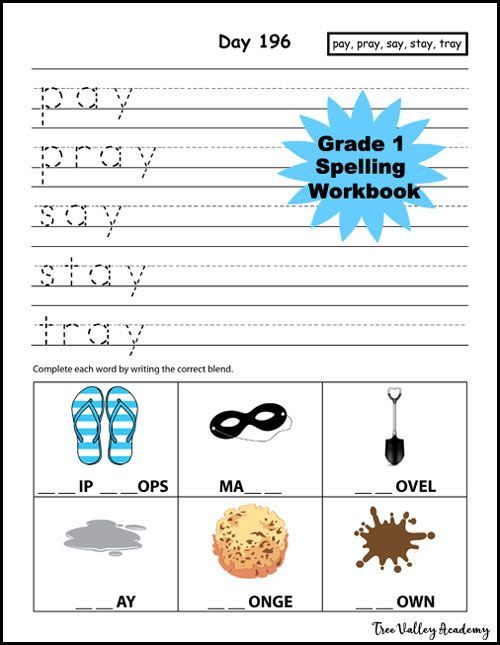 """Day 196 of """"Grade 1 Spelling Workbook"""", a complete spelling curriculum for homeschooling Grade 1.  400+ words, 300+ sentences, 27 blends & digraphs.  Combines spelling with learning handwriting since both are important skills for learning to write.  Sentence based dictation provides lots of repetition of previously learned words.  This days focus was learning the spellings of 5 words in the """"ay"""" word family."""