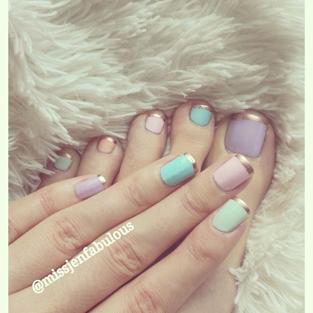 Pastel with Bronze Tips Pedi and Mani / Easter Nails