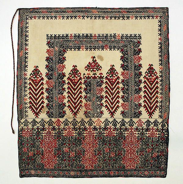 Apron Date: 19th century Culture: Greek Medium: cotton, wool (48.3 x 54.6 cm)