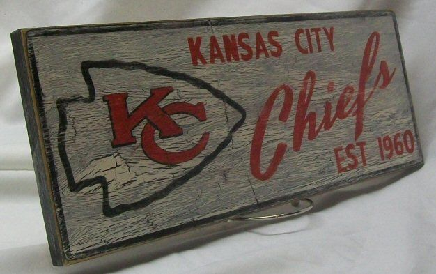 Kansas City Chiefs wall sign 6 1/2 x 17 by Route66VintagesSigns, $25.00