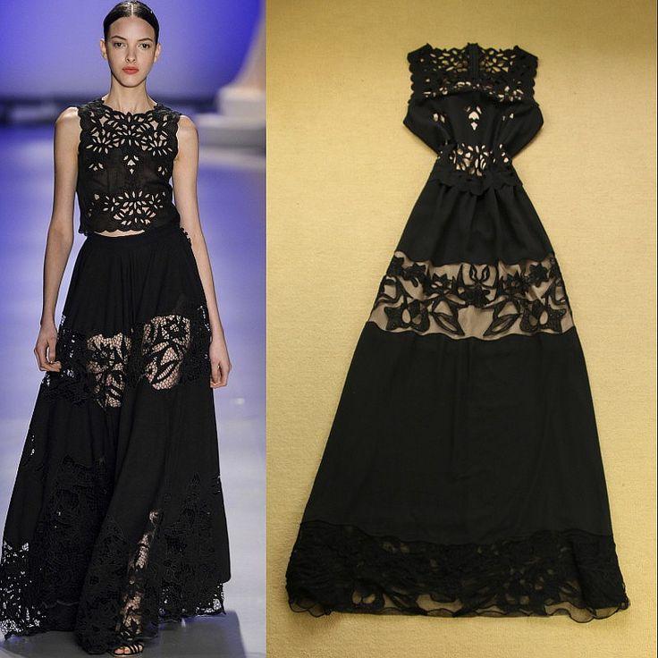 crochet on the runway   Stunning-2014-Runway-Fashion-Women-s-Cutout-Crochet-Flowers-Slim-Black ...