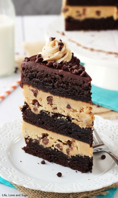 Peanut Butter Cookie Dough Brownie Layer Cake