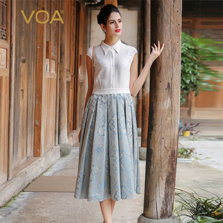 >> Click to Buy << VOA Silk White Office Dresses Women A-Line Jacquard T-Shirts Dress Draoed Mid-Calf Turn-Down Collar Vestido Female A7525  #Affiliate
