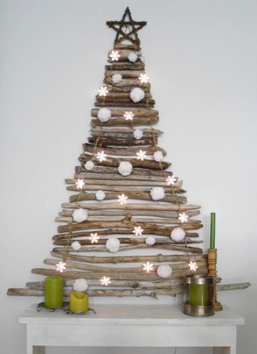 Albero di Natale, a muro, con legnetti