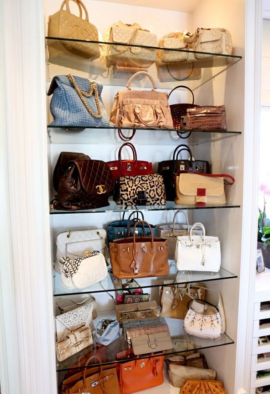 This gives me an idea to do in my very small closet | purse closet nice!!