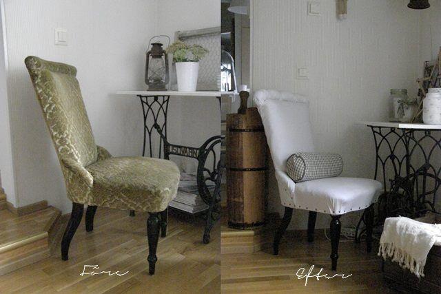 Klädde om en gammal stol. Annoin vanhalle tuolille uuden ilmeen