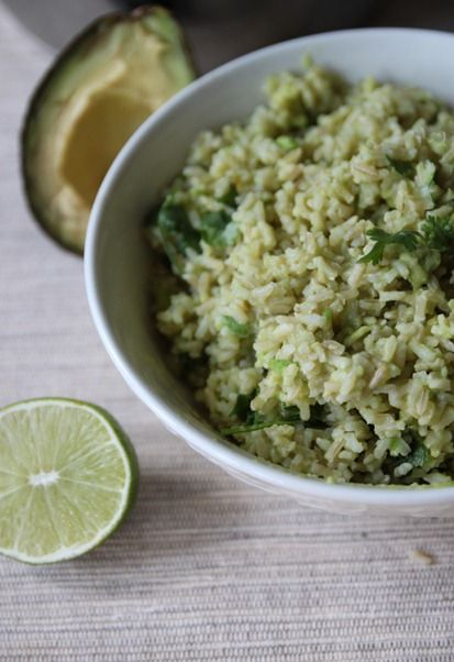 Avocado lime rice.  What an excellent way of getting your healthy fats and good carbs together!  And you had me at cilantro!
