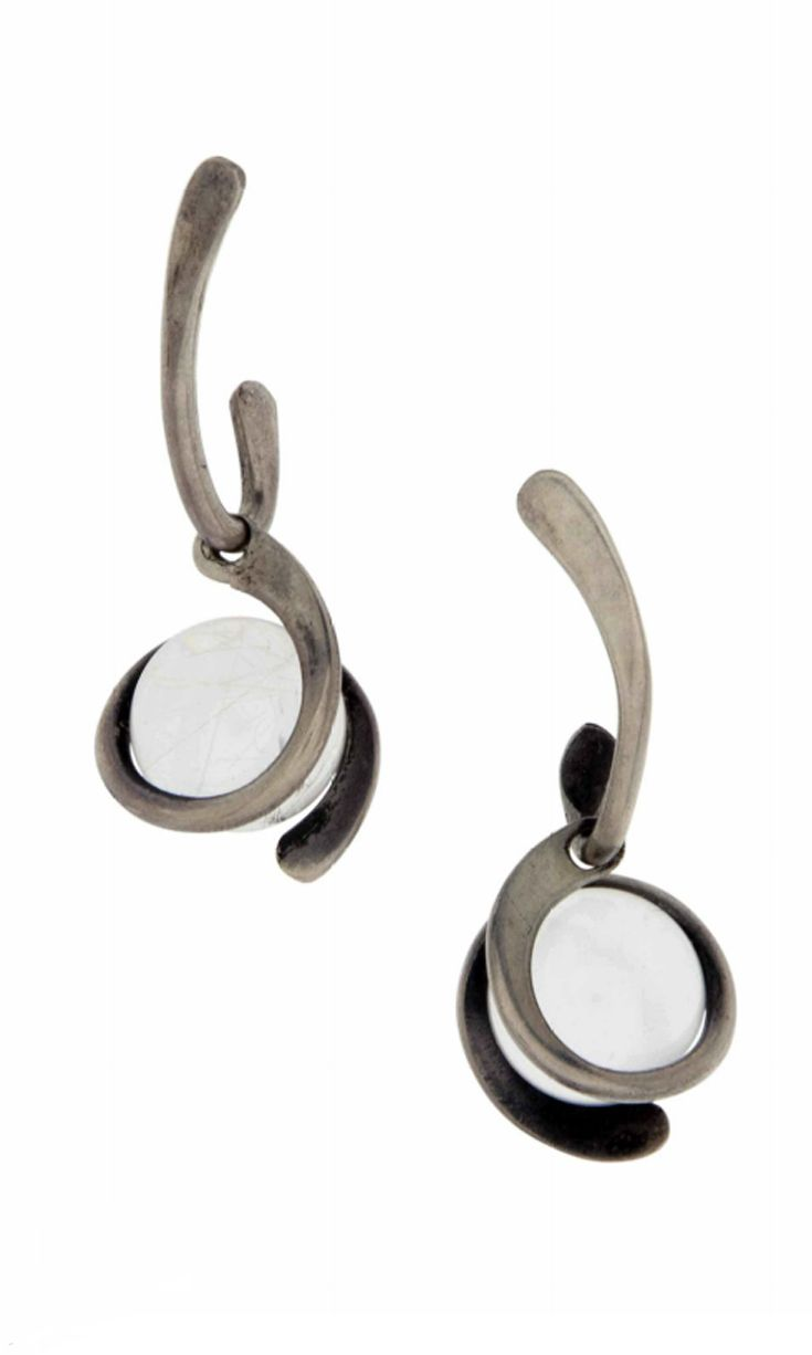 Earrings | Art Smith. Silver and glass. ca. 1950s | 500$ ~ Sold (June '14)