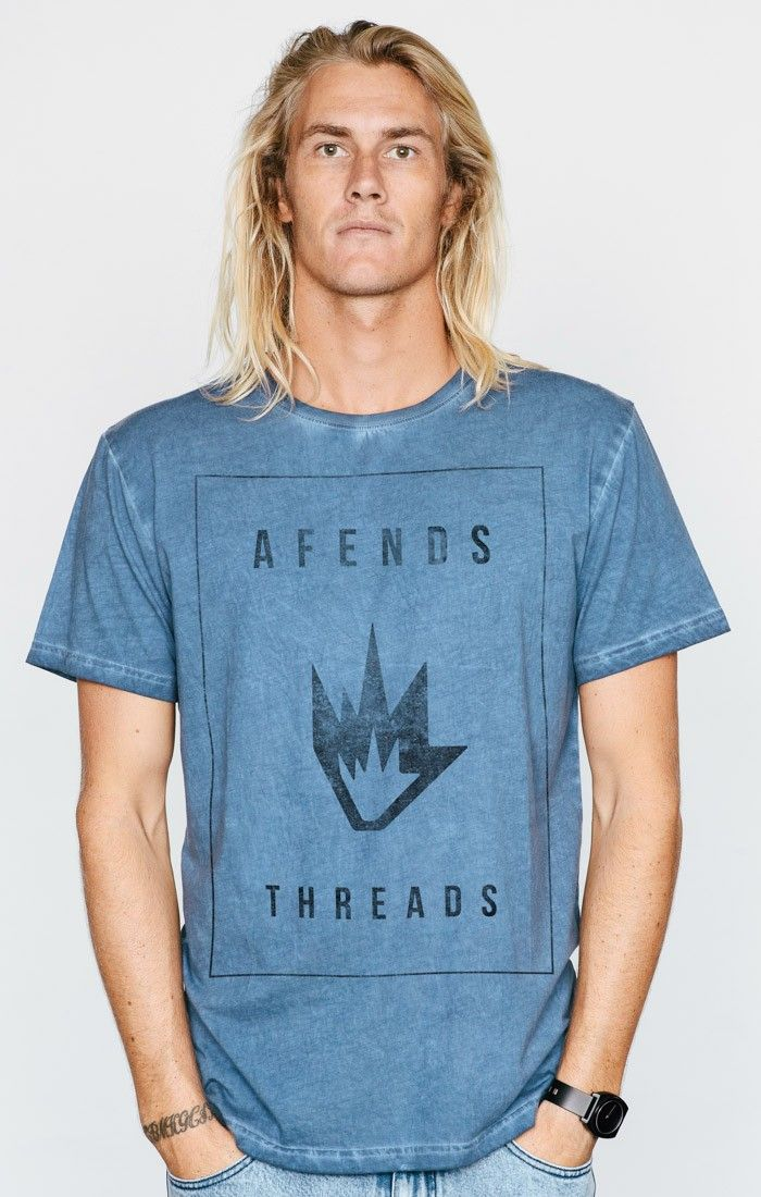 AFENDS THREADS - SLIM FIT TEE - NAVY ACID