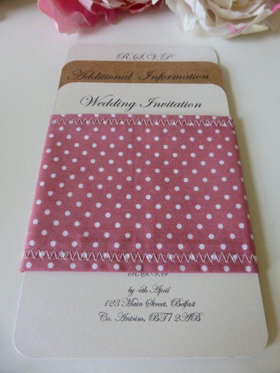 Handmade Wedding Invitation with Polka Dot Fabric by OloveDesigns
