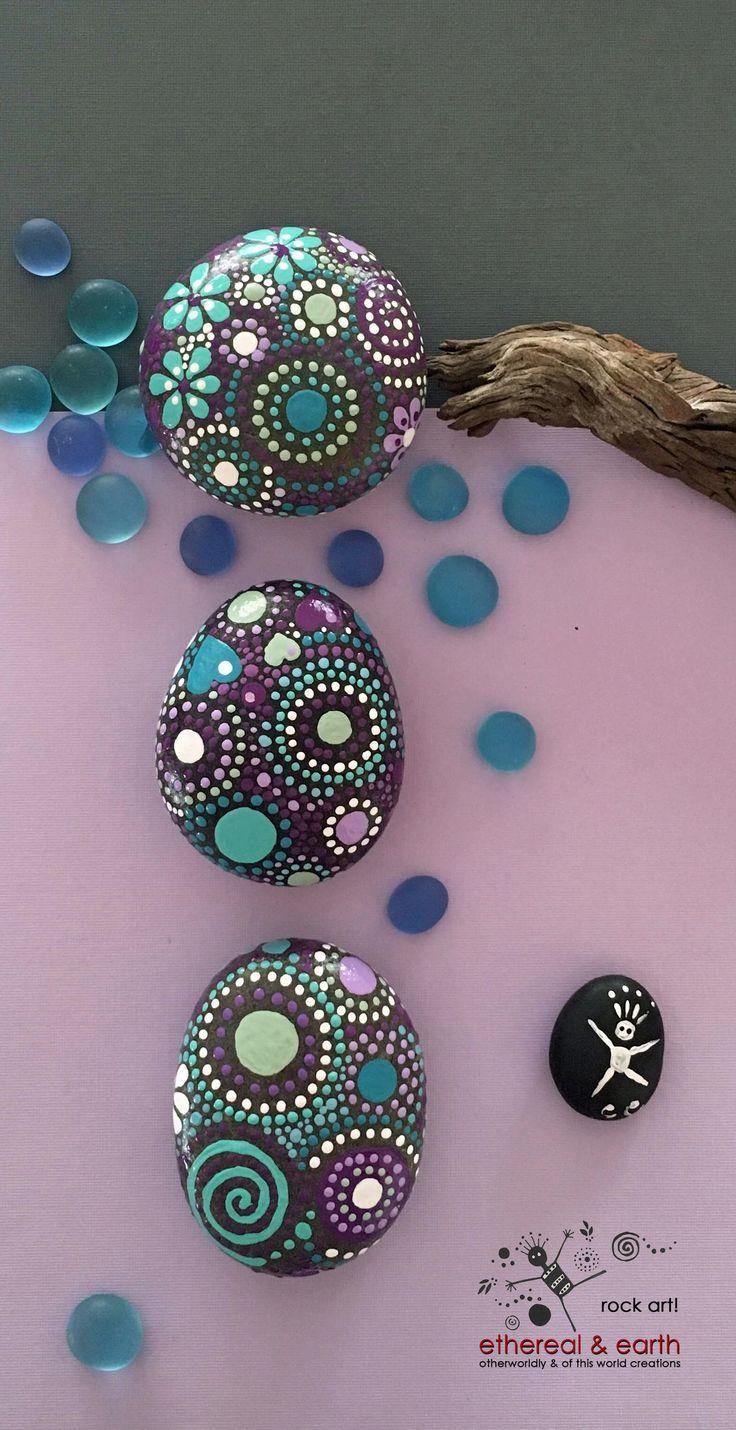 Painted Rocks, Mandala Inspired Design, Natural Home Decor, Free US Shipping…