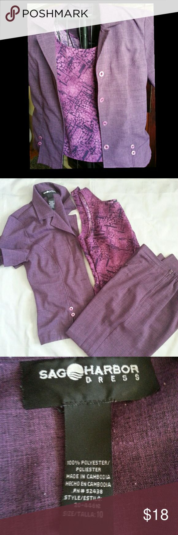 Sag Harbor pants suit Sag Harbor Women's two piece pantset. Purple in color. The pants are size 10 and they zip up the side. Elastic in the back waistband. The jacket is button front and is short sleeve. Comes with camisole jacket and pants. GUC no snags stains tears pulls or fading Sag Harbor Pants Trousers
