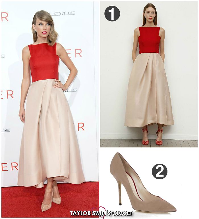 THE GIVER PREMIERE   AUGUST 11, 2014 Taylor went back to her 'RED' roots for the premiere of The Giver, of which she plays a small but very important role. Her gown followed this summer's 'midi' trend with a draped ivory skirt paired with a simple sleeveless bodice and nude pumps. SHOP HER LOOK:1) Monique Lhuillier Resort 2015 Collection - N/A2) Casadei 'Poise' Suede Pumps - Sold Out HER LOOK FOR LESS:1) Bailey 44 Sleeveless Crop Top - $571) 2LUV Asymmetric Midi Skirt - $182) Topshop…