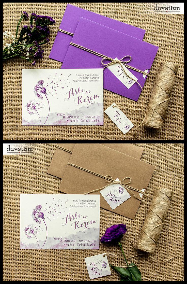 Davetizm A07 Davetiye Tasarımı #davetizm #wedding #invitation #davetiye #design #dugun #modern #dandelion #purple #tasarım #nametag #suluboya #watercolor davetizm.com