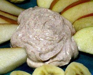 Creamy peanut butter dip made with vanilla Greek yogurt, peanut butter, honey, and cinnamon: great post workout snack..
