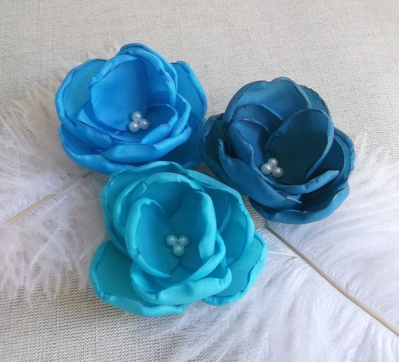 Coupon code 'FACEBOOK' for 5% discount.  Turquose Teal Capri Blue flowers in handmade by ZBaccessory, $18.00