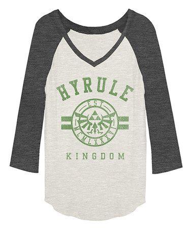 Charcoal Heather & Cream 'Hyrule Kingdom' Raglan Tee - Women #zulily #zulilyfinds