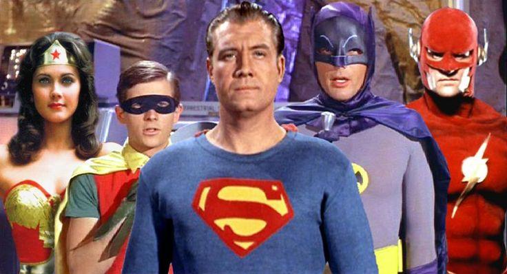 DC TV heroes! Linda Carter/Wonder Woman, Burt Ward/Robin, Goerge Reeves/Superman, Adam West/Batman & John Wesley Shipp/Flash NICE!!